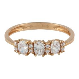 18kt pink gold trilogy ring with cubic zircons | Gioiello Italiano