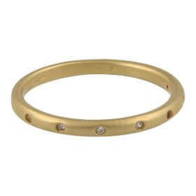Thin ring with white zircons in 18kt gold | Gioiello Italiano
