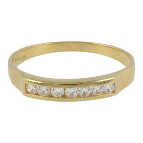 18kt yellow gold ring with 7 cubic zircons | Gioiello Italiano
