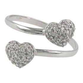 Ring with two hearts in 18kt white gold and zircons | Gioiello Italiano