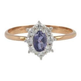 Rose and white gold ring with cubic zirconia and amethyst | Gioiello Italiano