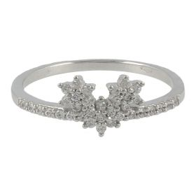 18kt white gold ring with three stars and cubic zircons | Gioiello Italiano