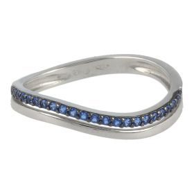 "18kt white gold ""Wave"" ring with coloured zircons 