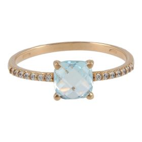 18kt pink gold ring with blue topaz and zircons | Gioiello Italiano