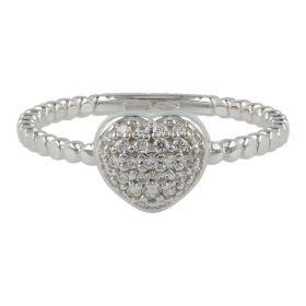 18kt white gold ring with heart and cubic zirconia pavé | Gioiello Italiano