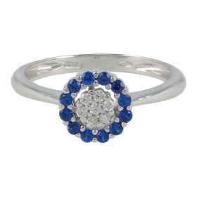 White gold ring with coloured concentric zircons | Gioiello Italiano