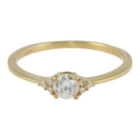 18kt yellow gold thin ring with cubic zircon stones | Gioiello Italiano