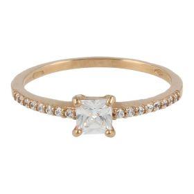 18kt pink gold ring with princess-cut zirconia | Gioiello Italiano