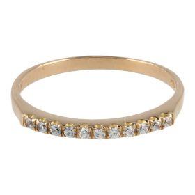 18kt pink gold thin ring with zircons | Gioiello Italiano