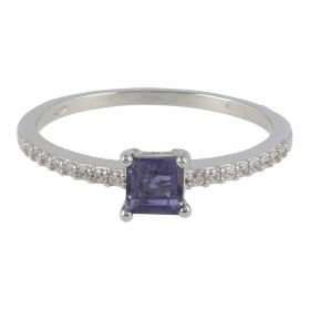 18kt white gold ring with white and purple zircons | Gioiello Italiano