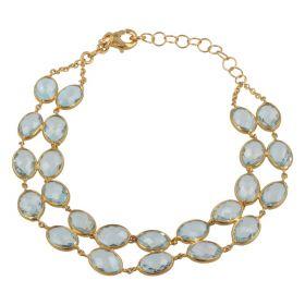 """Ali"" bracelet in 18kt yellow gold with peridot or blue topaz | Gioiello Italiano"