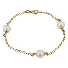 18kt yellow gold bracelet with three natural pearls | Gioiello Italiano