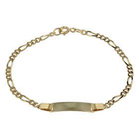 Children's 18kt yellow gold figaro bracelet with plaque | Gioiello Italiano