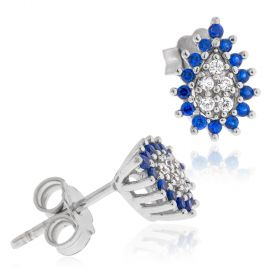18kt white gold drop earrings with cubic zircons | Gioiello Italiano