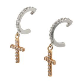 Crosses pendant earrings in 18kt white and pink gold   Gioiello Italiano