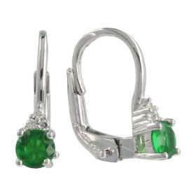 18kt white gold earrings with white and green zircons   Gioiello Italiano