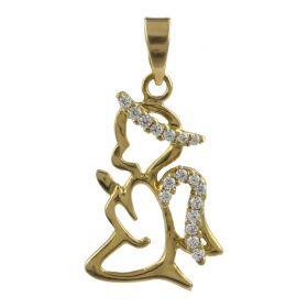 """Angel praying"" pendant in 18kt yellow gold and cubic zirconia | Gioiello Italiano"
