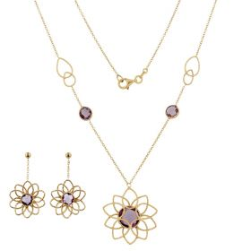 Yellow gold flowers jewelry set with amethyst