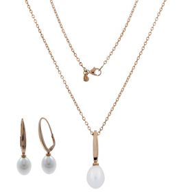 14kt rose gold set with oval pearls