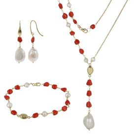 18kt yellow gold 'Arena' set with red coral and natural pearls | Gioiello Italiano