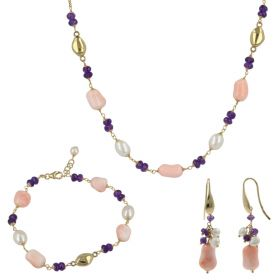 """18kt yellow gold """"Joia"""" set with pink coral and natural pearls 