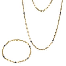 Men's 18kt yellow gold set with spinel stones | Gioiello Italiano