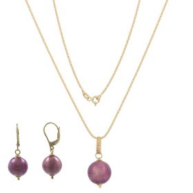 Yellow gold set with enamelled spheres