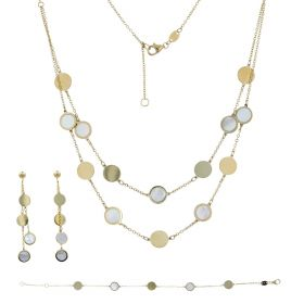 Round yellow gold set with mother-of-pearl