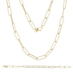 Medium elongated chain set in 14kt yellow gold