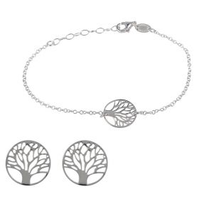 """Tree of Life"" round silver set 