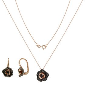 """Little Roses"" set in gold and zirconia"