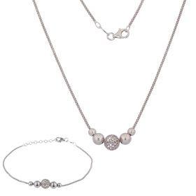 Parure in argento coreana con perline