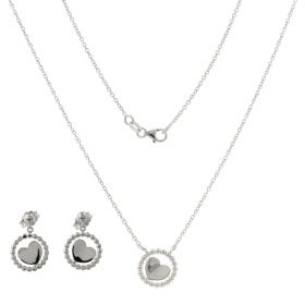 14kt white gold set with hearts