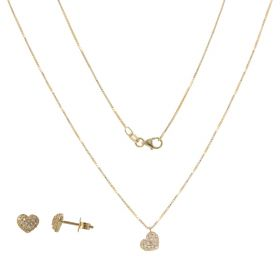 Yellow gold heart jewelry set with zircons pave