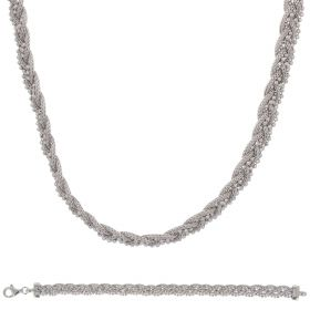 Silver braided mesh set with beads