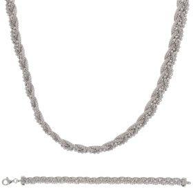Parure a rete in argento intrecciata con perline