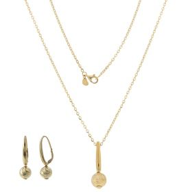 14kt gold set with diamond-cut balls
