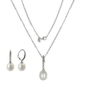 Parure in oro bianco con perle naturali ovali | Gioiello Italiano