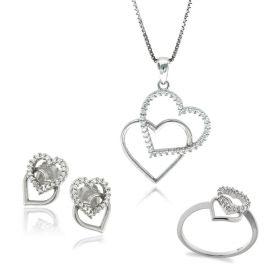 Parure in argento coppia di cuori | Gioiello Italiano