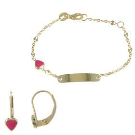 Yellow gold set with enameled hearts