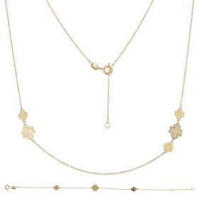 14kt yellow gold set with four-leaf clovers
