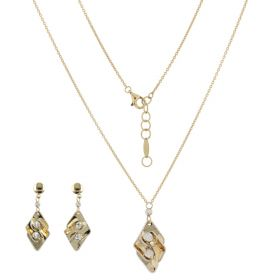 Rhombus sets in 14kt yellow and white gold