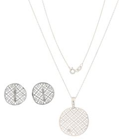 "14kt white gold ""Texture"" set 