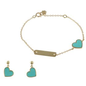 Set with enameled hearts in yellow gold