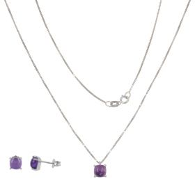White gold set with amethysts