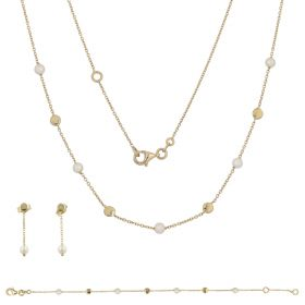 Light yellow gold set with cultured pearls