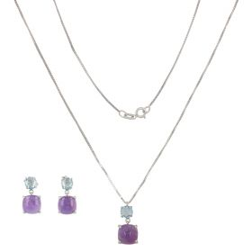White gold set with topaz and amethyst