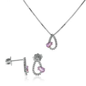 Drop-like silver set with natural stones and cubic zirconia