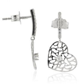 18kt white gold earrings heart-shaped