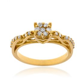 18kt yellow gold ring with 0.30ct diamonds